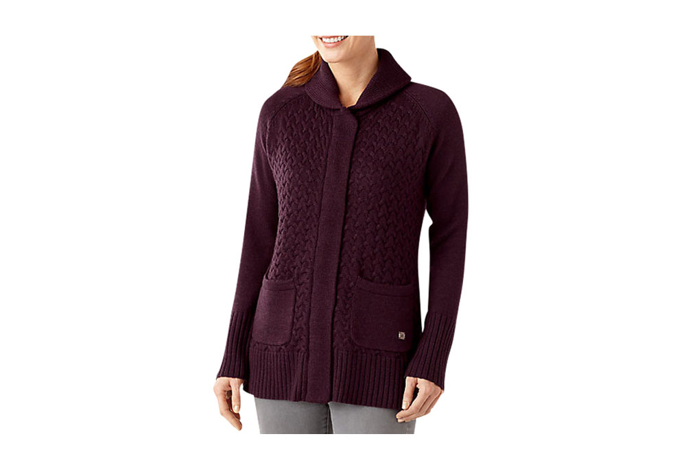 hesperus women Perfect for star gazing, this full zip, long body women's sweater jacket keeps the chill away with a shawl color and 100% merino wool chunky cable knit.