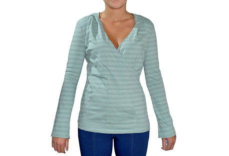 blue canoe stripe hoody - womens- Save 56% Off - This pull-over hoody makes an easy-fit cover-up or wear on it's own. It has a flattering crossover bodice with a kangaroo pocket. It comes in happy spring colors on over-dyed gray and white striped organic cotton.  Features:  - 100% organically grown cotton