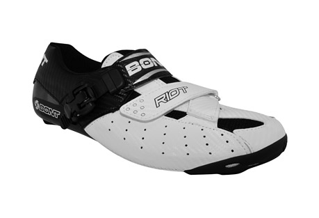 bont riot road cycle shoes - men's- Save 39% Off - Introducing the Bont Riot , the worlds first carbon composite heat moldable entry level cycling shoe. The Riot combines Bont's pro series technical features including their power transfer platform and anatomical shaping with competition grade materials to create the most technically advanced entry level road cycling shoe. The Riot is designed to increase your efficiency as well as promote natural motion and prevent injury.  Features:  - Carbon Composite Construction with Microfiber Upper  - Stack height 4.8 mm  - Ventilation holes through upper and mesh inserts  - Replaceable sole guards  - Fully Heat Moldable Chassis utilizing Thermoset Resin  - Z Form Velcro Strap and Micro Adjustable Buckle  - Anatomical heel cup provides increased stability during the pull through stroke and up stroke  - Lateral forefoot support ensures neutral positioning of the forefoot  - Weight 280 grams