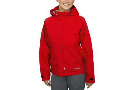 cloudveil koven jacket - women's- Save 60% Off - The Koven Jacket is ready for some seroius bad weather.  It is fully seam sealed and with a storm flap and adjustable cuffs and waist for even more elemental protection.  The hood is compatible with climbing helmets and a lined chin guard prevents snags when zipped all the way up.  Features:  - Fully seam sealed  - Drop down storm sealing hood  - Climbing helmet compatible  - Lined chin guard  - Center front storm flap  - Water-resistant zippered chest pocket  - Dual slider zippered pit vents  - Water-resistant zippered hand pockets   - Adjustable cuffs with gusset   - Adjustable elastic drawcord at the waist  - Sizing up one size is suggested