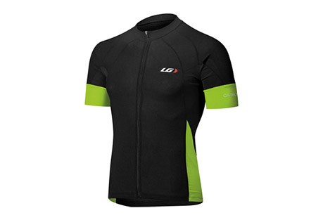 louis garneau carbon cycling jersey - mens- Save 26% Off - Louis Garneau Men's Size Chart  The lightweight Carbon Ion fabric offers exceptional moisture-wicking and airflow, but what's even more is it is now treated with coldblack(R) that reflects the sun to reduce the surface temperature of the fabric.  In other words, the black version of this jersey will stay as cool as the white jersey.  The coldblack(R) treatment also offers extreme UV protection.  With preshaped shoulder and aero lazer band sleeves, the Performance Carbon Cycling Jersey performs aerodynamically and offers comfort when in the aero position.  Features:  - FABRICS:  - CB CARBON ION:  STABILIZE BODY TEMPERATURE  - POWER MESH:  BREATHABILITY, COMFORT, FLEXIBILITY  - ENDUREXX:  STRETCHABILITY, COMPRESSION AND SUPPORT  - DETAILS:   - Full length zip:  Allows maximum vantilaton  - Pre-shaped shoulders:  Enhance comfort in cycling position  - 3 angled back pockets with reflective trim on center pocket:  Easy to access with enhanced visibility  - Aero Lazer band at arm:  Lazer-cut, flat, smooth transition to improve aerodynamics and muscle support  - Enviro pocket:  Allows to separately store empty gel pouches to eliminate littering  - Elastic at hem:  Secures fitF  - ront and back reflective accents:  Enhance visibility  - Racer Fit Men  - UPF/SPF 35  - Coldblack Finish(R)