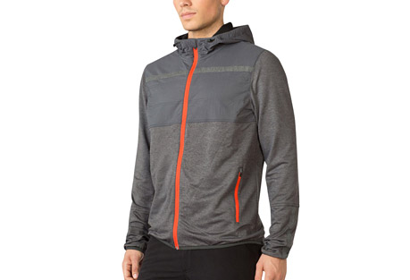 mpg planet running jacket - men's- Save 55% Off - MPG Men's Size Chart  Form meets function in this mixed media jacket withs a wind and water-resistant overlay right where you need it most. The wicking fabric keeps moisture out, finished with a cinchable hood to ward off the rain. 360-degree reflectivity makes it a great choice for your night runs.  Features:  - Superior moisture wicking fabric  - Wind/water resistant overlay  - Side storage pockets  - Hood cinch  - 360-degree reflectivity  - Main Fabric: Global Terry 89% Polyester 11% Spandex  - Overlay: Wind break woven 92% Nylon 8% Spandex