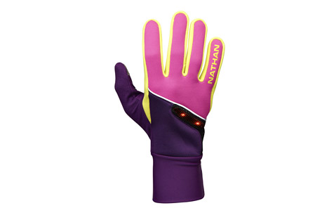 nathan speedshift glove - unisex- Save 60% Off - Cold weather running gloves with high visibility LIGHTWAVE ensures you're seen in the morning and evening hours.   Features:  - LIGHTWAVE active visibility red LED lights on back of hand provide up to 1300 feet of visibility   - Wind resistant fabric on back of hand  - Weather-resistant DWR Finish  - 3M  reflective trims for greater visibility  - Nose wipe chamois thumb  - Conductive TruTouch technology on thumb and index finger allows smart phone operation with gloves on     -Please note unisex is men's sized  Sizing  Men's size  XS, Women's size S  Men's size S, Women's size M  Men's size M, Women's size L  Men's size L, Women's size XL  Men's size XL Only available to ship within the U.S