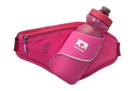 nathan triangle hydration waist pak- Save 46% Off - The perfect pak for walkers, joggers, and runners alike. The Triangle makes carrying hydration and essentials a piece of cake. The zippered pouch holds your keys, phone and other necessities.  Features:  - Slanted hydration storage  - Zippered pocket  - 6.8 oz / 192.8 g  - 22 oz / 650 mL  - One Size: 26-44 in / 66-112 cm  - Only available to ship within the U.S