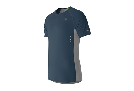 new balance precision run short sleeve - men's- Save 58% Off - New Balance Men's Apparel Size Chart  The men's Precision Run Short Sleeve is designed with NB GLOW, silver reflective details and glow-in-the-dark eyelets to help you stand out even as you run into the night. Welded seams and a laser-cut, welded hem make this a streamlined running go-to. Plus, laser-cut perforations on the back and NB DRY technology work together to wick sweat away fast, helping you stay comfortable mile after mile.  Features:  - A minimal charge to the glow-in-the-dark graphics of 10 minutes under direct light illuminates your performance. There you glow.  - Athletic fit  - Dropped back hem  - Engineered jacquard graphic to back panel  - Glow-in-the-dark eyelets  - Laser cut and welded lower hem  - Laser cut perforations  - Reflective logos and trims  - Welded seaming  - Material: 91% Polyester and 9% Spandex