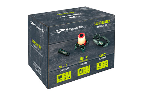 princeton tec backcountry led light kit- Save 38% Off - This three light kit covers a wide range of outdoor and backcountry needs.  It includes Princeton Tec's lightweight Amp 1L flashlight, versatile Helix Backcountry lantern, and powerful Sync 150 headlamp. On the trail, on the rocks, or in camp, they have you covered.  Features:  - Max Lumen ratings:  Amp 1L - 90, Helix - 150, Sync - 150  - Waterproof ratings:  Amp 1L - IPX8, Helix - IPX6, Sync - IPX4  - Burn times:  Amp 1L - 72 hours, Helix - 8 hours, Sync - 72-150 hours  - Batteries:  Amp 1L - 2 AAA, Helix - 3 AAA, Sync - 3 AAA  - Amp 1L flashlight has a built-in carabiner loop and bottle opener. The ultra-efficient MaxBright LED puts out 90 Lumens for up to 72 hours.  - Helix lantern features an expanding globe and foldable legs for compact storage. White and red LEDs allow 4 different power modes, with up to 150 Lumens output. Can be hung by the handle or legs.  - Sync headlamp is equipped with 1 white spot LED, 1 white flood LED, and 1 red LED for multiple beam options and up to 150 Lumens of illumination.