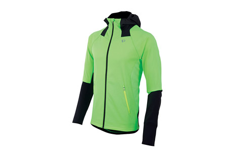 pearl izumi fly softshell run hoody - men's- Save 50% Off - Pearl Izumi Apparel Size Chart Ruthless winter wind has met its match. This Thermal Windblocking hoody offers outstanding protection, its wind resistant construction is complete with a draft flap and internal fist mitts to keep out the cold.  Made of stretch thermal fleece, it provides freedom of movement and is quick drying and breathable for athletic performance.  Features:  - Stretch Thermal Windblocking fabric provides optimal wind protection, warmth, and breathability for high aerobic outputs  - Thermal Fleece fabric strategically paneled to deliver superior breathability, moisture transfer and warmth  - 2 zippered hand pockets keep your fingers warm, while providing storage for small essentials  - Form fitting Thermal Windblocking hood offers outstanding protection without inhibiting your field of view  - Full-length internal draft flap with zipper garage keeps cold air out  - Internal fist mitt seals in warmth  - Main body: 100% polyester  - Jacket weight: Size Medium: 16 oz / 469 g  - Last Chance:  Discontinued Style