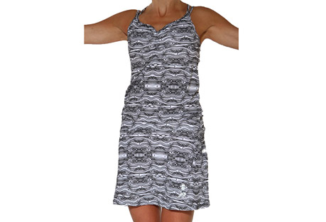 running skirts black treehugger sporty dress - women's- Save 60% Off - The new black treehugger dress features cerise and light pink woodgrain print and built in sports bra with removable pads, double strap criss-cross back and two roomy side pockets with velcro-closure. Perfect for everyday workouts, running, tennis to happy hour. Wear over top the Running Skirts Run Buns (sold separately) or your favorite compression shorts/bikini bottoms.   Features:  - 2 Roomy Velcro closure pockets at the hips  - Built in sports bra with removable