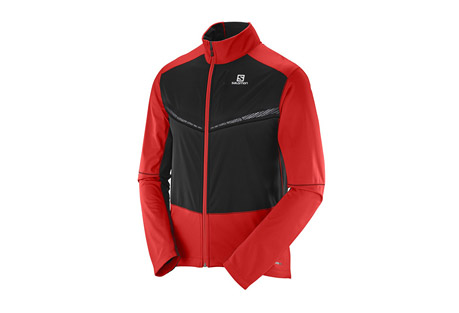 salomon equipe vision ss jacket - men's- Save 47% Off - Ideal for dark winter days running or nordic training, the Equipe Vision Softshell jacket combines great mobility and ventilation with reflective visibility.  The front panel blocks wind to keep you warm, while the back panel allows ventilation and is made of stretch fabric to move with you.  Reflective elements keep you visible from all angles.  Features:  - Advanced Skin SHIELD Technology protects you against wind and snow to help prevent chills, while maintaining breathability to maintain a constant body temperature.  - Softshell 3L  - Articulated sleeves  - Stretch cuffs  - Ergonomic full front zip  - Stretch back panel  - 1 zip chest pocket  - 1 back pocket  - Adjustable hem  - 360deg reflective  - Last Chance:  Discontinued Style