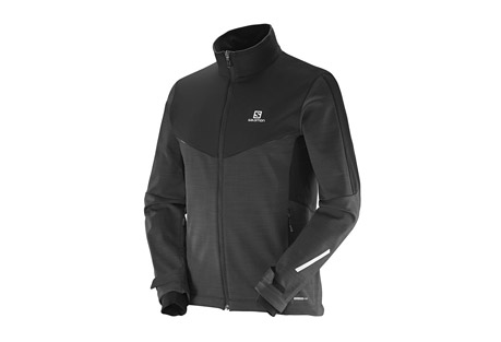 salomon pulse softshell jacket - men's- Save 47% Off - Using 2 different softshell fabrics for warmth and comfort, this jacket has a stretch panel on the back to let you move, airvent system on the front zipper to regulate airflow, and reflective detailing.  Its softshell fabric is wind and water resistant while remaining breathable.    Features:  - SOFTSHELL provides climate management and comfortable motion fit.   - Advanced Skin SHIELD Technology protects you against wind and snow to help prevent chills, while maintaining breathability to maintain a constant body temperature.  - Weather resistant  - Breathable  - 2 hand pockets  - 1 chest pocket  - Cuff tabs  - Adjustable hem  - Smart Vent  - Reflective elements front and back  - Last Chance:  Discontinued Style