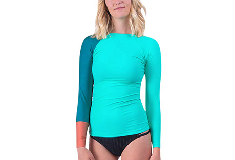 seea doheny rashguard - women's- Save 53% Off - The Doheny Rashguard is a favorite of lady surfers everywhere. The rapidly-changing colors and prints in limited editions are often here and gone in a blink, but you can always count on the signature details that you first fell in love with: color-blocked raglan sleeves, delicate neck opening, and slim-fitting extra long length.  Features:  - Italian nylon/spandex with original prints rated UPF 30+ to 50+  - Extra long and slim-cut body  - Raglan sleeve  - Contrast cuff  - Elastic hem on neck  - Made in sunny California