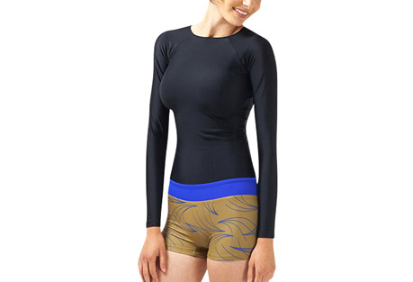 seea swami's playsuit - women's- Save 61% Off - Adorable and built for action, the Swami's closes the gaps between rashguard, boardshorts, swimsuit, and cuteness. This long-sleeved one-piece wonder with flattering dropped waistband and attached minishorts is the ultimate playsuit for both saltwater and freshwater fun.  Features:  - Italian nylon/spandex fabric rated UPF 30+ to 50+  - Lined shorts with no front seam  - Low rise contrast waistband  - Raglan sleeves  - Contrast back zipper  - Elastic hem keeps the neck from stretching out  - Made in sunny California