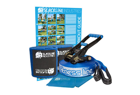 slackline industries fitness line- Save 36% Off - Incorporate slackline resistance training into any workout routine with the complete FITNESS LINE kit designed to enhance traditional exercises, strengthen core muscles and hone balance skills. The included stretch band and workout guide compliment the elastic-style slackline to offer a full body resistance training program.   The complete kit includes a ratchet with safety lock and main line with a sewn loop on one end. The advertised TrueLength refers to the length of the main line alone. Other companies will advertise a kit length that includes the webbing on the ratchet and the main line. Essentially shorting you on your main line!   The easy-to-use ratchet comes with 8 feet of webbing and a reinforced loop to firmly anchor and tension the slackline. The handle grip is a soft plastic for comfortable and efficient tensioning and the ratchet release is also rubberized for easy and safe release of the tension on the line.  Features:  - True Length: 50ft (15m) main line + 8ft (2.4m) ratchet strap  - Width: 2 inches (50mm)  - Webbing Strength: 3 tons  - Max Weight: 300 lbs (136 kg)  - Age: 5 & up  - Tree Protection: use of tree protection is HIGHLY encouraged on all of our products. It will not only protect what you use as anchors i.e. trees and posts, but it will also prolong the life of your gear. It is also the right thing to do.  - Elastic Stretch Band: elastic stretch band integrates with the slackline providing additional exercise options.