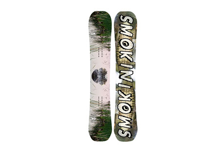 smokin snowboards annialator (atx) snowboard- Save 43% Off - The AnNIALator (ATX) from Smokin Snowboards is available at member-exclusive pricing for a limited time only. Shop now or miss out forever!  Inspired and Designed by Nial Romanek with an Awesymmetrical sidecut, Nial's own tip design and custom flex pattern coupled with Nial's preferred ATX Flat Camper Profile.  Features:  - ATX- Totally flat from contact to contact  - True twin-symmetrical shape  - 3 Stage Dampening- absorbs vibrations caused by changing snow conditions  - Blunt tips  - VDFLU- Variable Density Fiberglass Layup, enhances control capabilities   - Magne Traction  - Sintered 6k Bases- The hardest, toughest bases available, 1/3 thicker than the industry standard.   - Good Wood- Environmentally conscious manufacturing