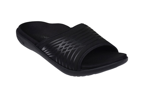 spenco thrust sandals - men's- Save 50% Off - This re-designed athletic slide uses Spenco's new structured memory foam footbed construction helping to create a soft yet supportive underfoot cushioning platform perfect for post-workout foot recovery. The soft stretchable composite material cross strap is enhanced with a bonded TPU support structure adding subtle rigidity where it's needed. Like all Spenco(R) Footwear the Total Support(R) footbed gives an unmatched level of comfort and support.  Features:  - For half sizes order the next size down  - Structured Memory Foam footbed  - Stretch Composite Material upper strap  - Spenco's proven TOTAL SUPPORT(R) contour  - Deep Heel Cupping  - Orthotic-grade arch support  - Metatarsal dome  - Lightweight, two-part outsole  - +5 mm heel lift  - Non-slip, non-marking outsole  - Ultra-Fresh(R) Antimicrobial controls odor