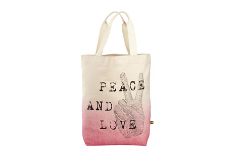 Life is Good Engraved Peace Love Messaging Tote