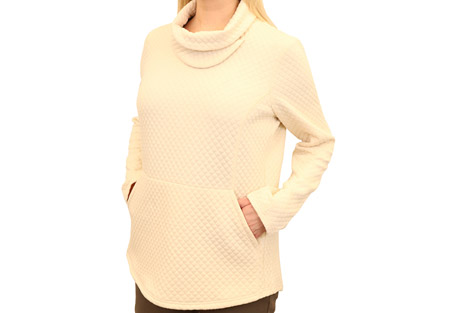 Mountain and Isles Diamond Quilted Slit Cowl Neck - Women's