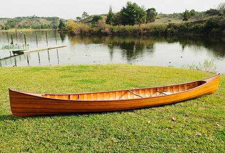 Old Modern Handicrafts Wooden Canoe with Ribs 16'