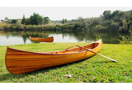 Old Modern Handicrafts 12' Curved Bow Wooden Canoe with Ribs