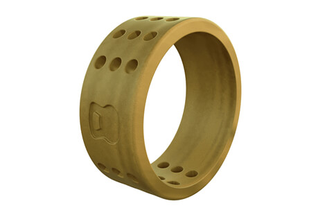 Qalo Athletics Gold Perforated Silicone Ring - Men's
