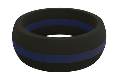Qalo Blue Line Perforated Silicone Ring - Men's