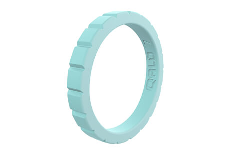 Qalo Stackable Aquamarine Step Silicone Ring - Women's
